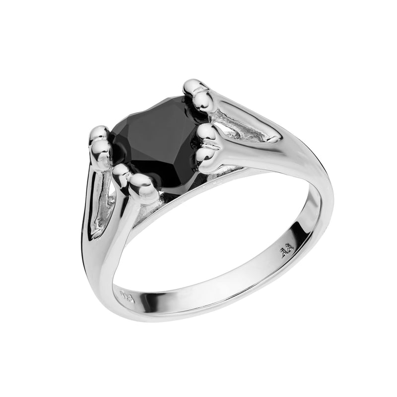 COLD HEART ~ STERLING SILVER & ONYX RING