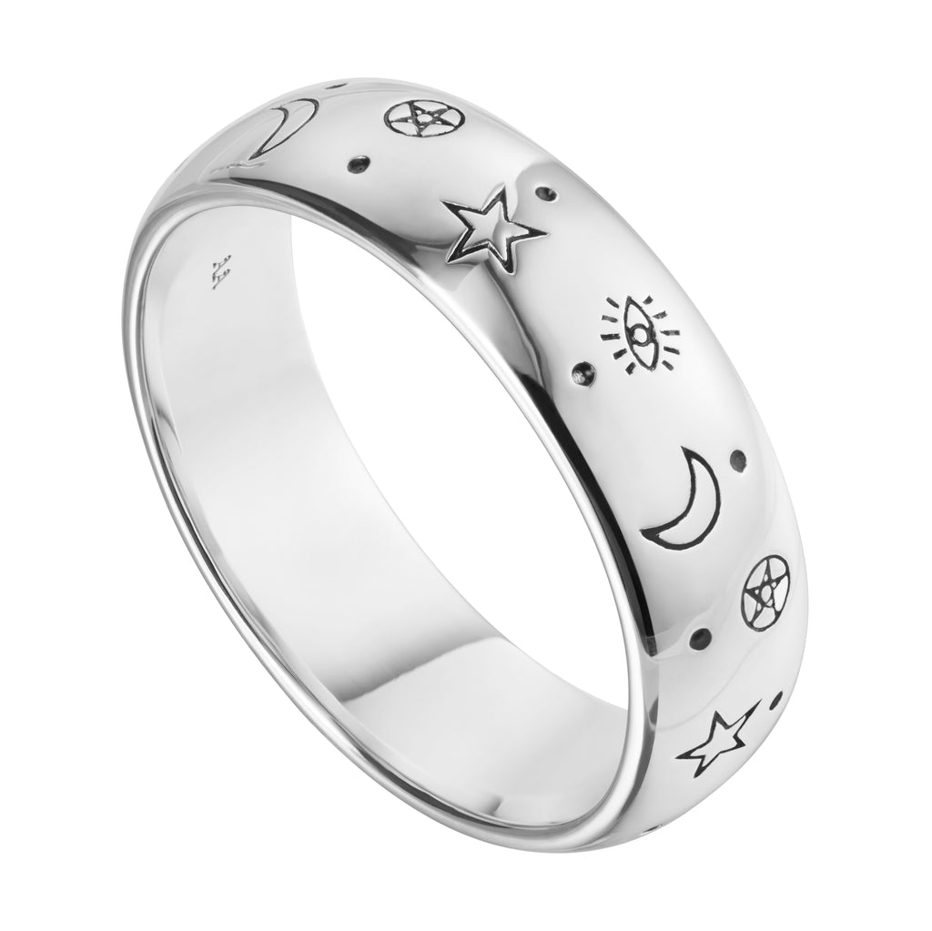 Sterling silver wicca witch witchcraft ring jewellery