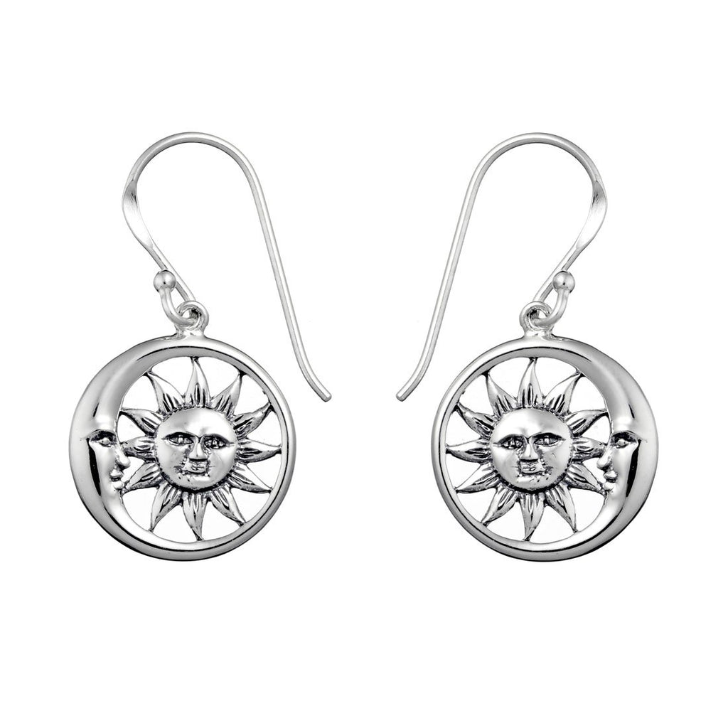Sterling silver sun and moon boho bohemian earrings alternative jewellery