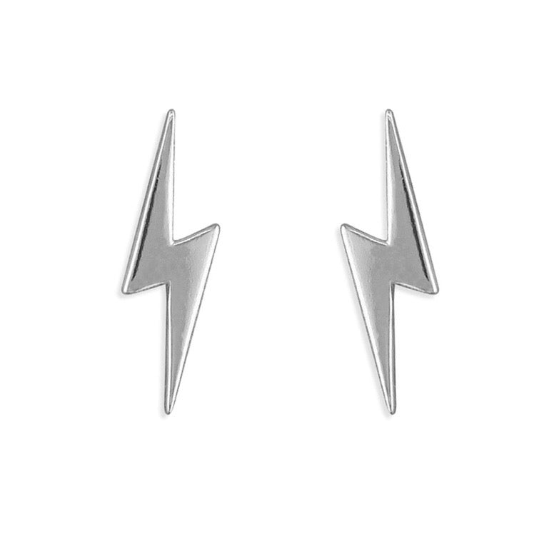 Sterling silver lightning bolt stud earring alternative sterling silver jewellery