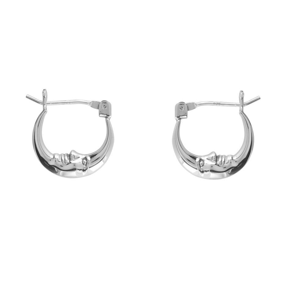 Sterling silver moon hoops gothic witchy alternative jewellery jewelry