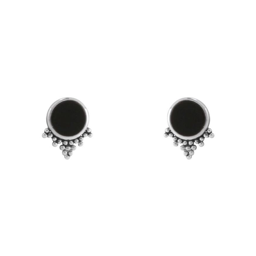 MYSTIC MIRROR - STERLING SILVER ONYX STUDS