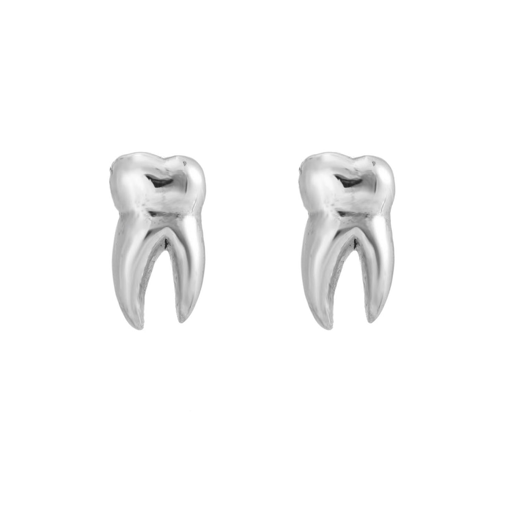 Sterling silver teeth tooth stud earrings gothic alternative jewellery