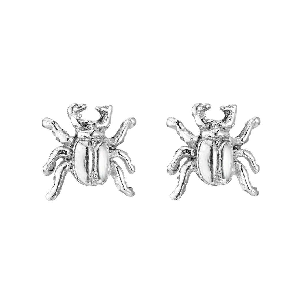 Sterling silver beetle stud earrings alternative gothic boho jewellery jewelry