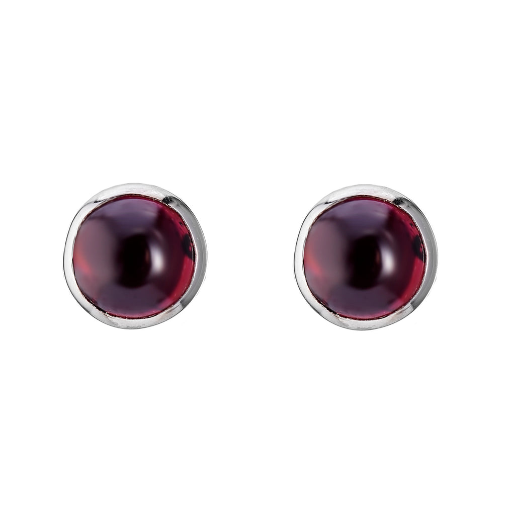 Simple sterling silver and garnet stud earrings gothic alternative bohemian jewellery jewelry