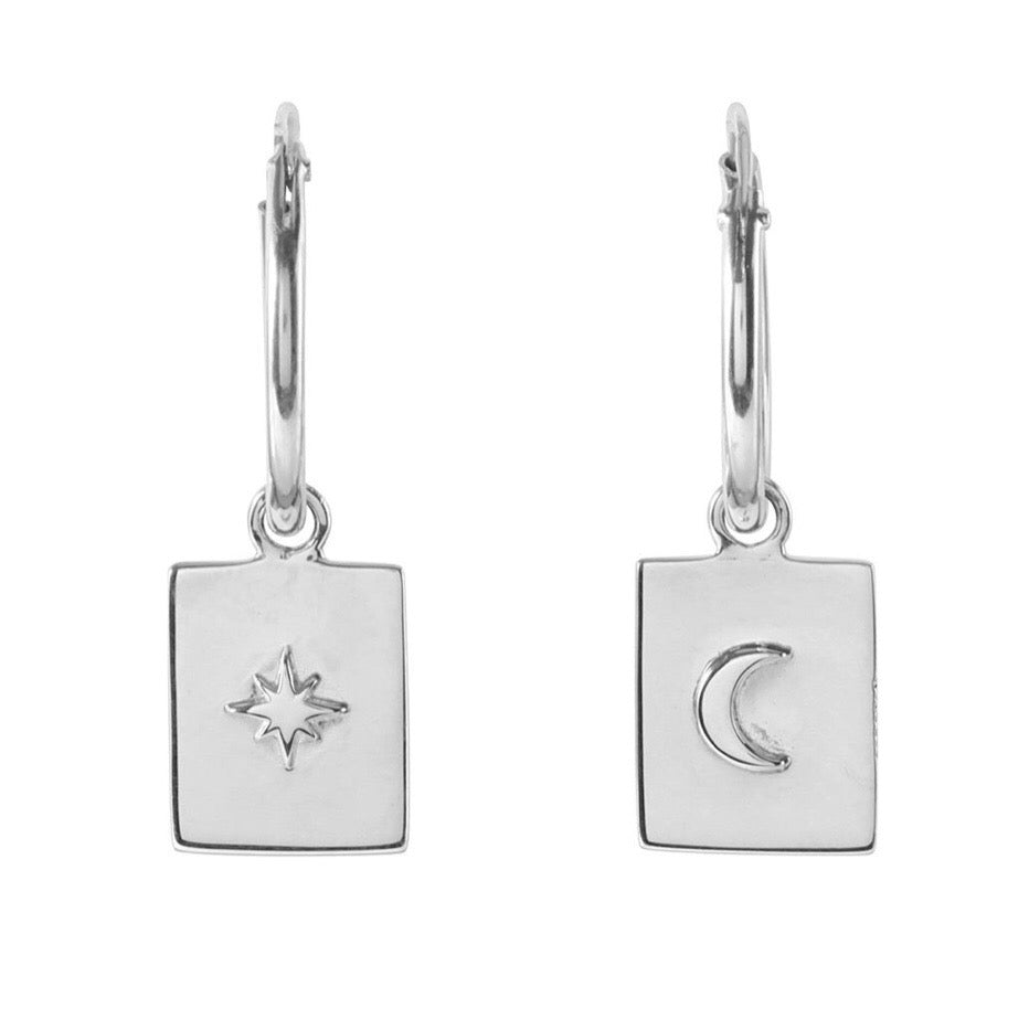 Sterling silver moon star medallion jewellery earrings hoops jewelry