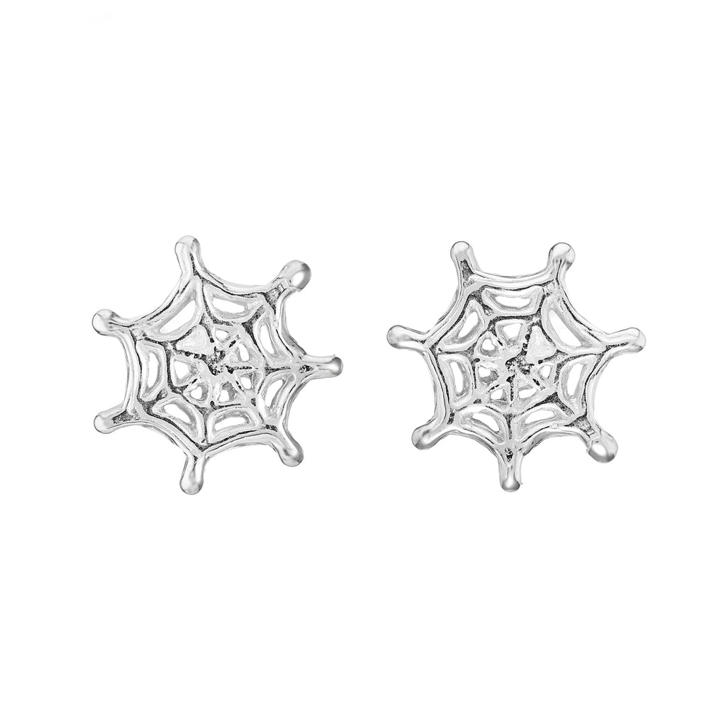 Sterling silver spider web stud earrings gothic alternative bohemian jewellery