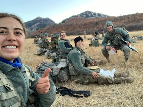 Kelsie Taylor With Friends During an ROTC Exercise
