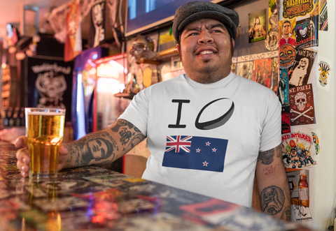 New Zealand Rugby Fan Drinking Beer with National Shirt