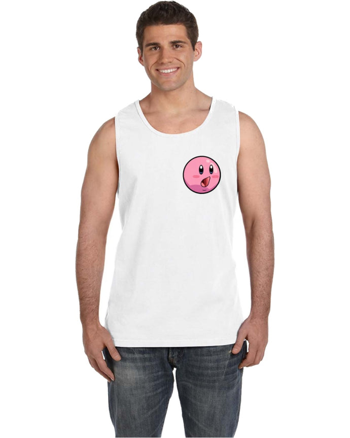 BlakeTheMOON Pocket-Sized Kirby Face (POG) White Tank Top