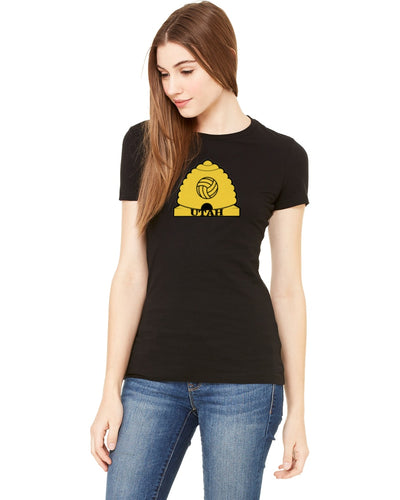 Utah Volleyball Hive Design On Black Women's Tee