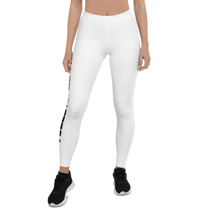 Volleyball Mom White Leggings (Front View)