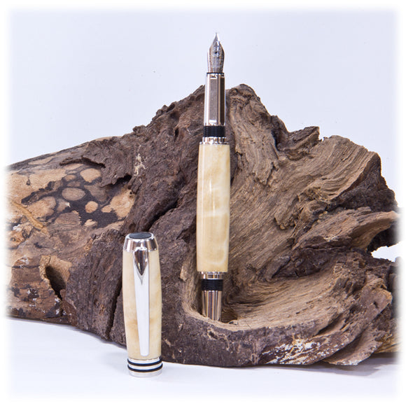 Tycoon Rhodium Fountain Pen  (Cottonwood) - 1817