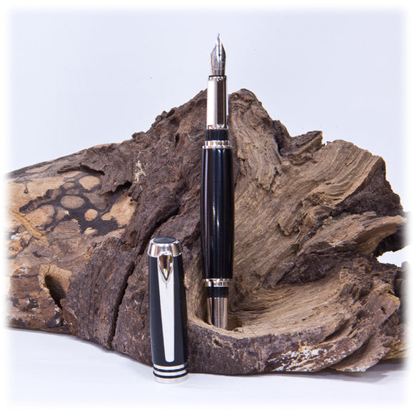 Tycoon Rhodium Fountain Pen  (Black Acrylic) - 1819