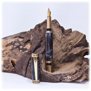 Tycoon 24kt Gold Fountain Pen  (Marble Acrylic) - 1823