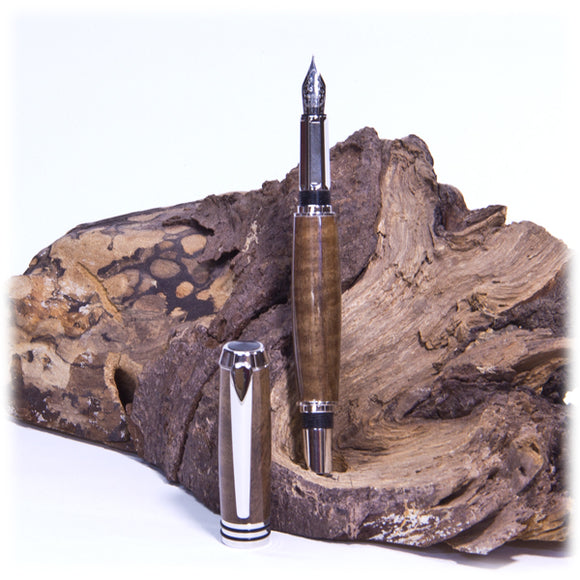 Tycoon Rhodium Fountain Pen  (Caro Walnut) - 1816