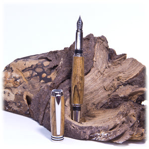 Tycoon Rhodium Fountain Pen  (Spalted Maple Burl) - 1815