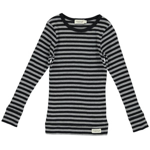 Modal blusa, Black/Grey Melange Stripe