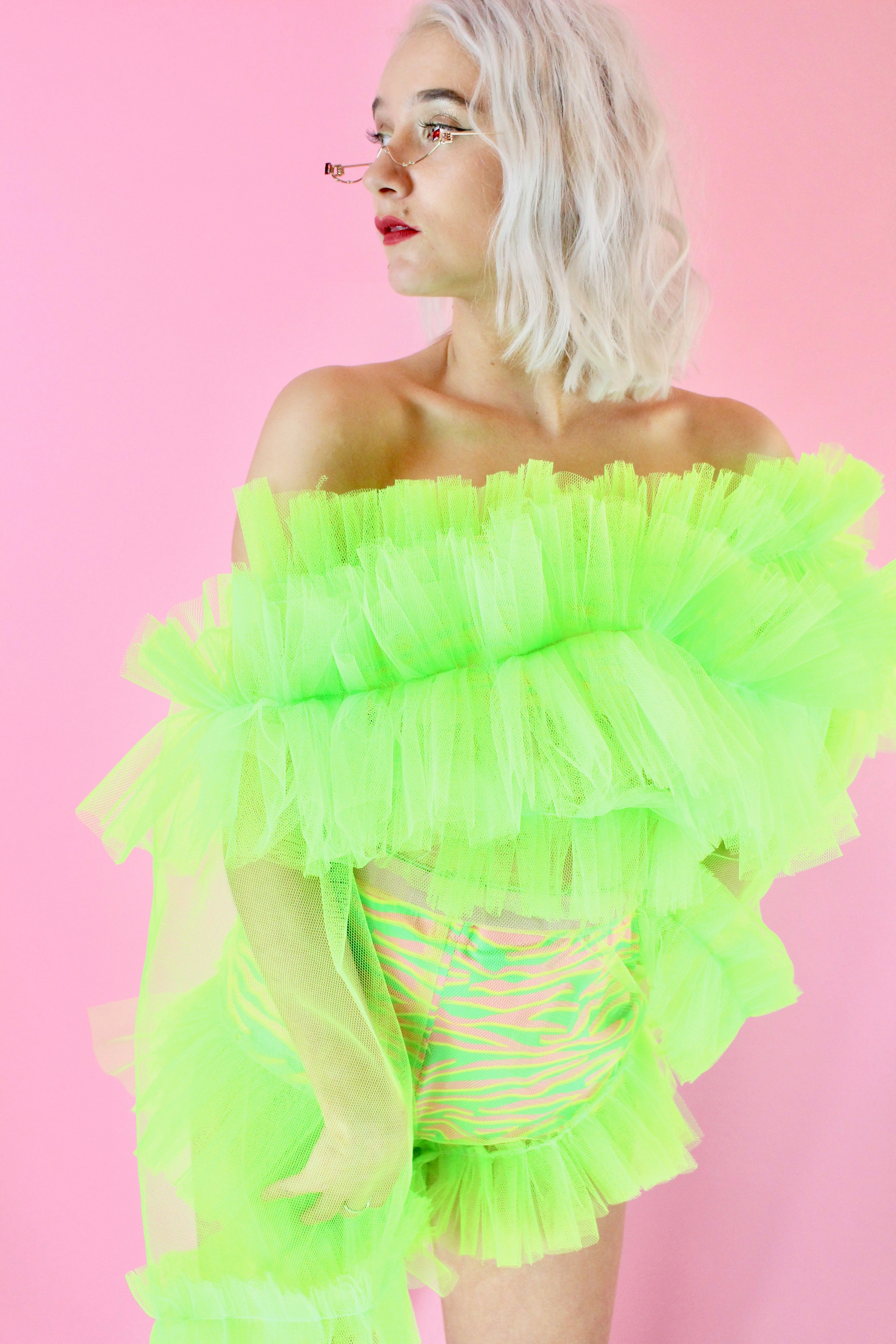 LIME RUFFLE TOP AND CO-ORD