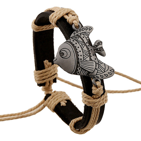 vintage leather fish charm bracelet