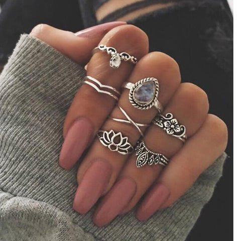Lotus Drops Ring Set