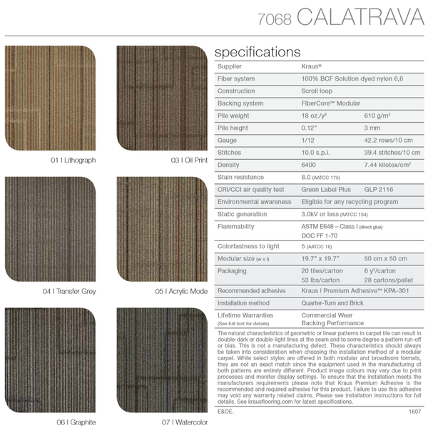 CALATRAVA 7068 KRAUS CARPET TILE -  100% NYLON