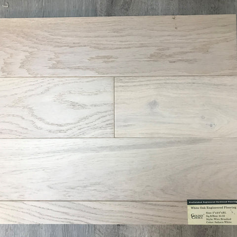 GOLDEN CHOICE ENGINEERED WIRE BRUSHED WHITE OAK Sahara White