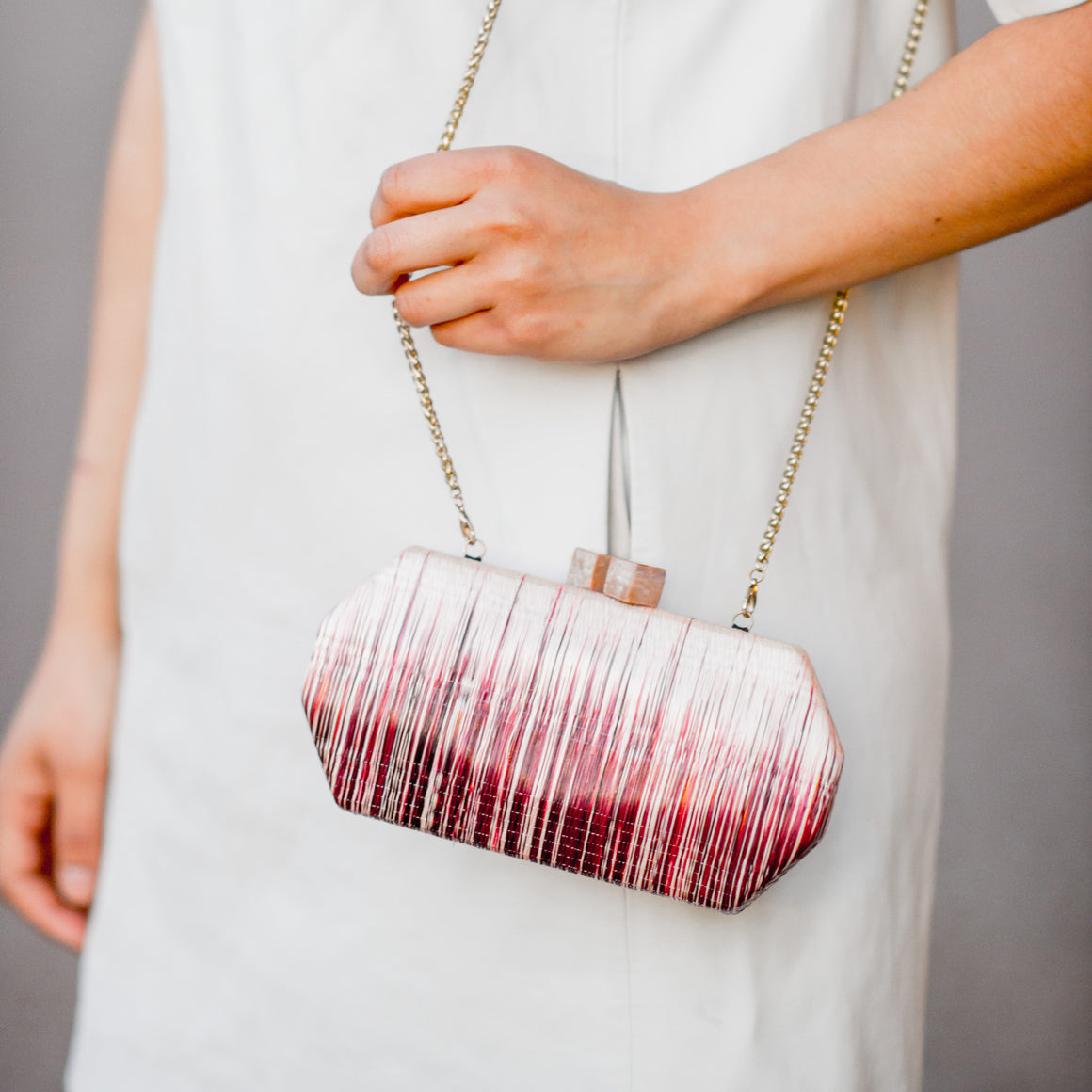 Wine Colored Clutch - Woven Clutch Purse | LIKHÂ
