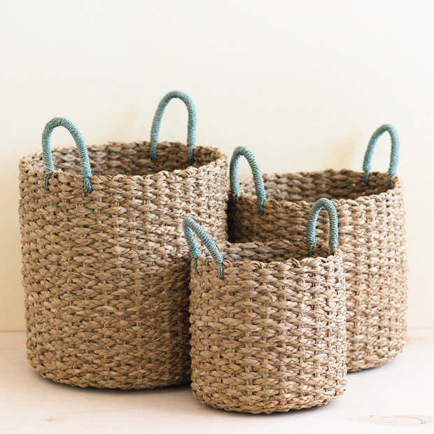 Seagrass Woven Baskets with Sky Blue Handle Set of 3 - Straw Baskets | LIKHÂ 1