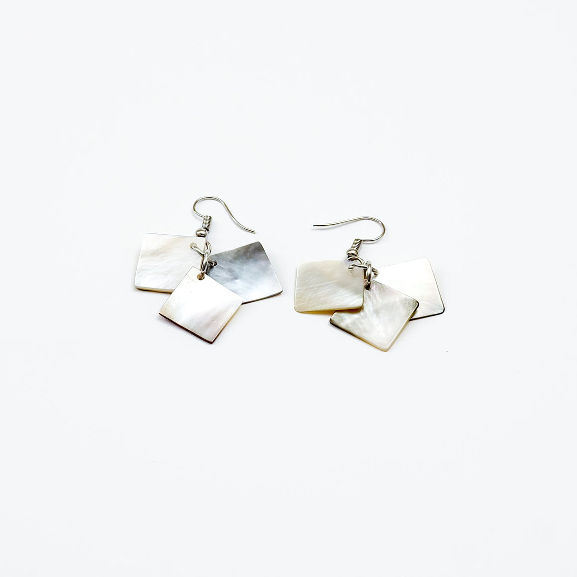 mother of pearl squares - earrings