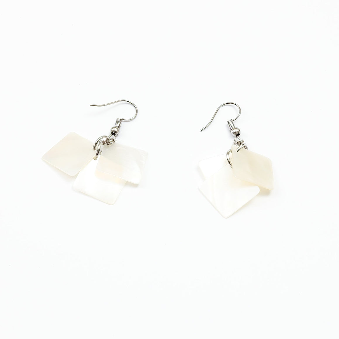 mother of pearl squares - ethical handcrafted earrings