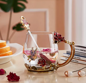 Luxury Rose Butterfly Glass Tea Cup Set