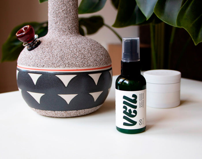 Veil room spray for eliminating smoke from weed smoking.