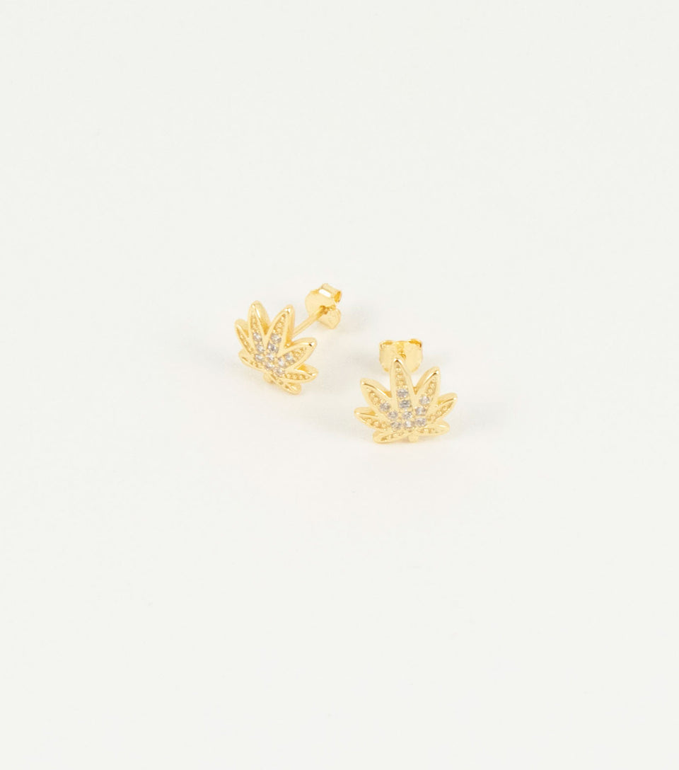 18k gold plated Sterling Silver cannabis leaf jewelry.