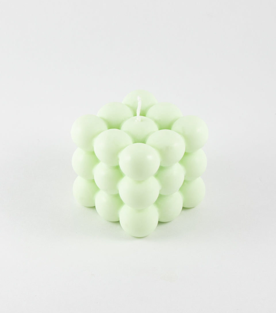 Mint green bubble candle handmade in Toronto.
