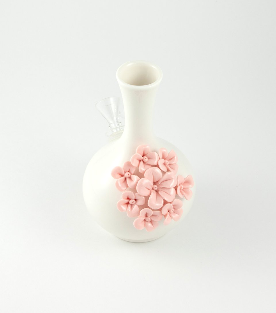 Monica vase bong with pink flowers.