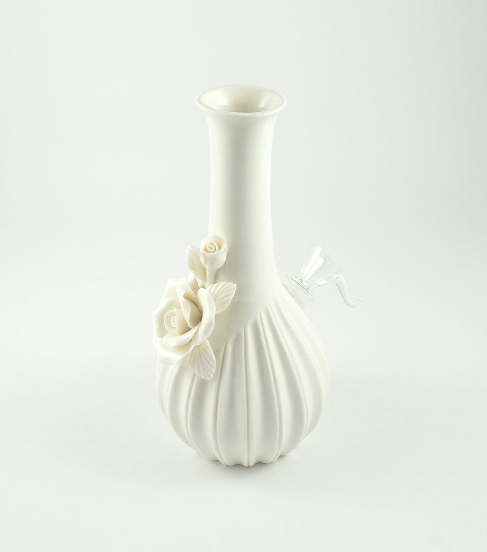 Ivory Ceramic Cannabis Bong with Rose