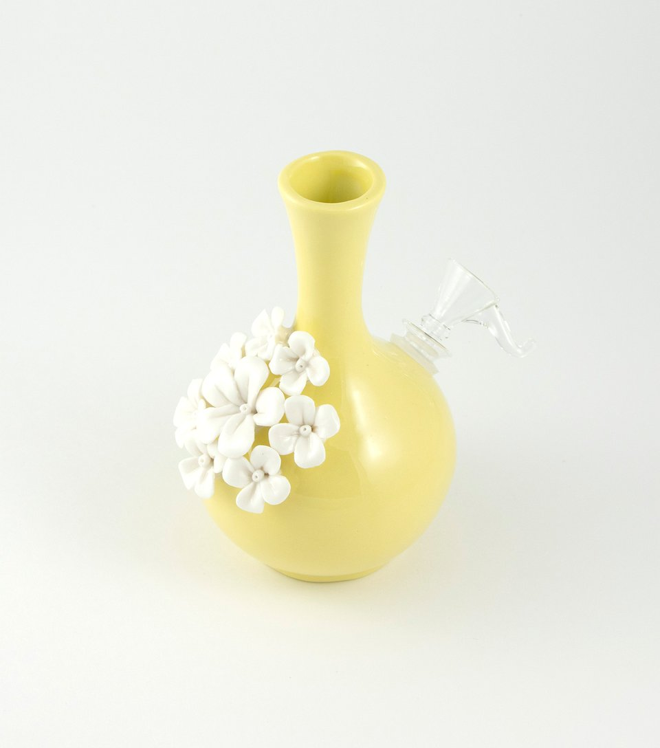 A bong made with a vase.