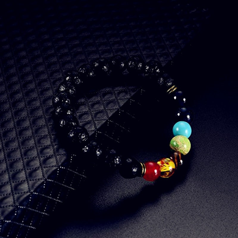 7 Chakra Colorful Agate Beaded Bracelet