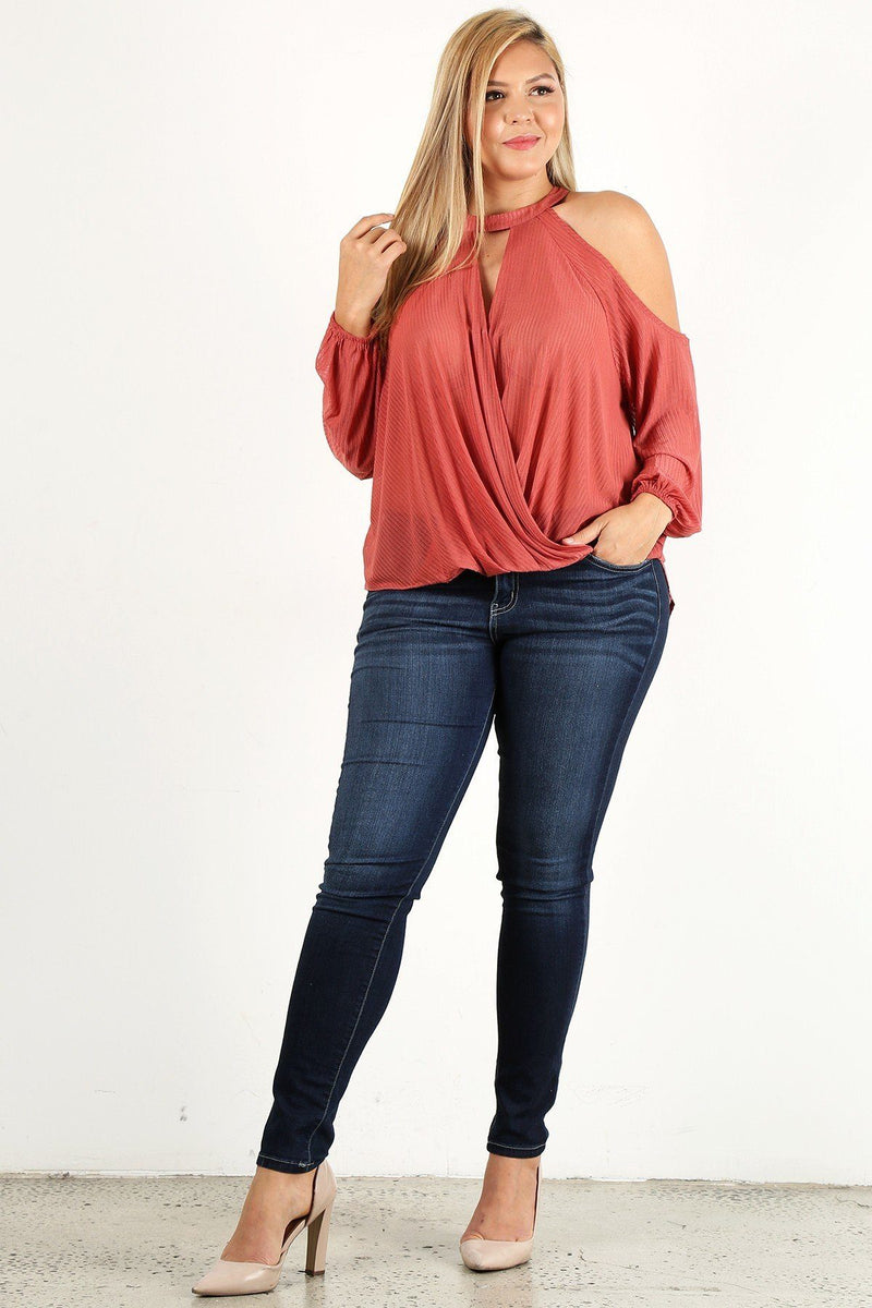 Mauve Plus Size Solid Wrap Top With A Mock Neckline, Cutouts, And Puff Sleeves