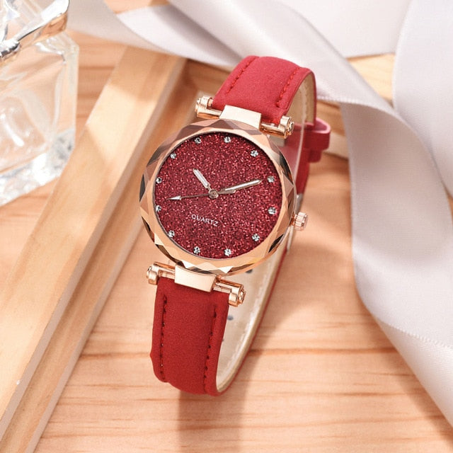 Romantic Bracelet Leather Wrist Watch - giftsvistas.com