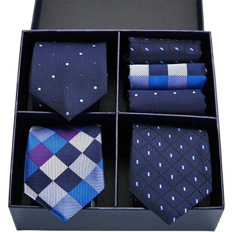 Men's ties with handkerchief set in gift box