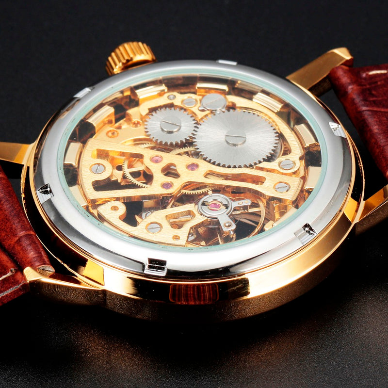 Luxury Gold Transparent Skeleton Watch For  Men - giftsvistas.com