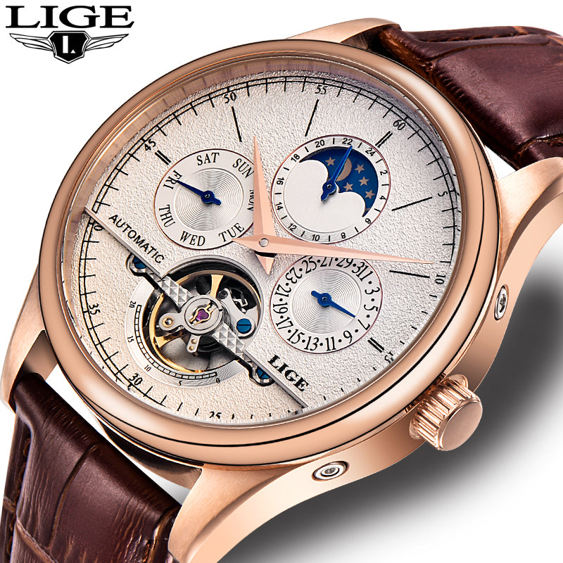 LIGE Men's Automatic Mechanical Watch Tourbillon Sport Clock - giftsvistas.com