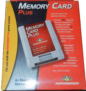 Memory Card Plus Nintendo N64 Video Game Accessory