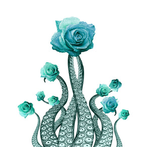Octopus Art Print: Blue Tentacles and Roses
