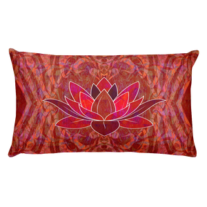Red Soul Lotus Print Rectangle Pillow