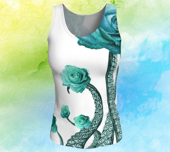 Octopus Tentacles with Blue Roses Fitted Tank