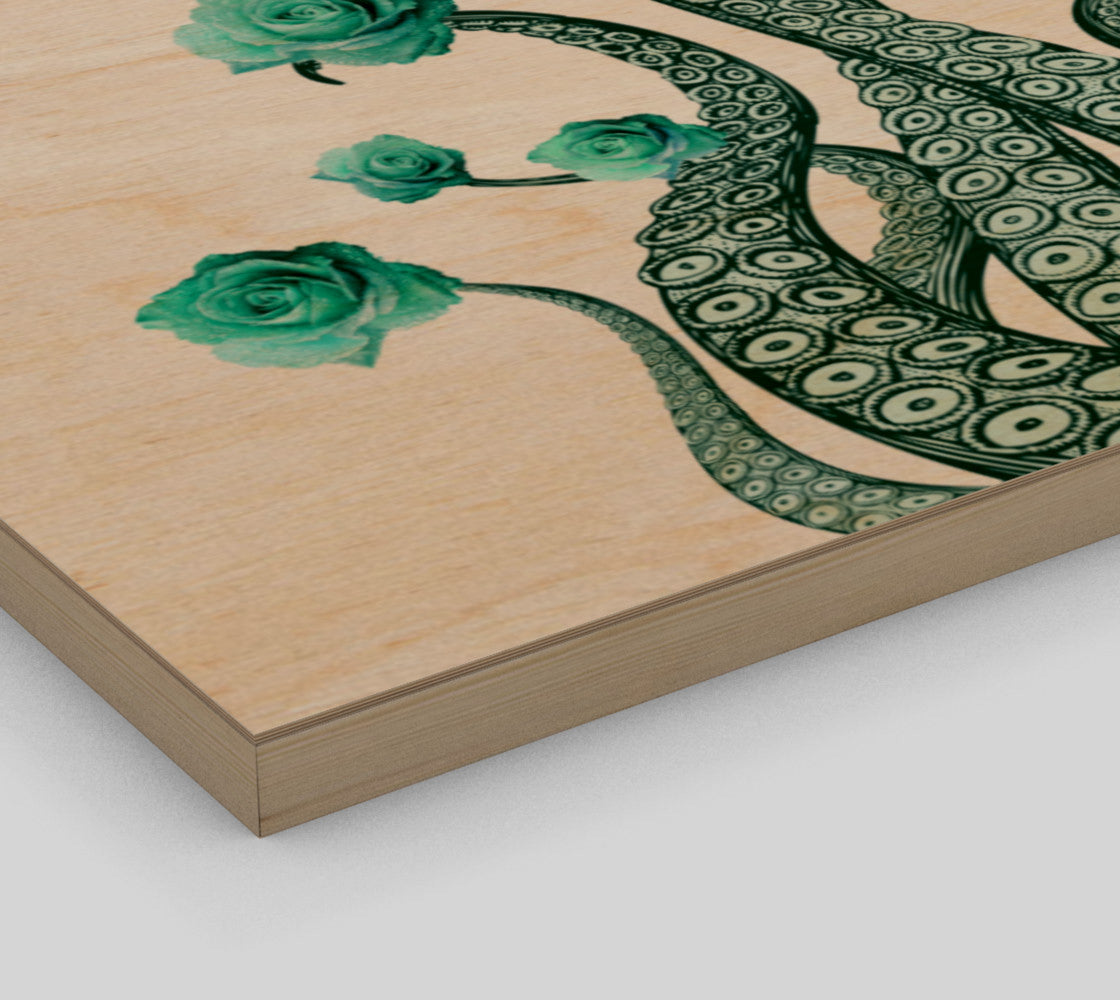 Octopus Blue Roses Wood Panel