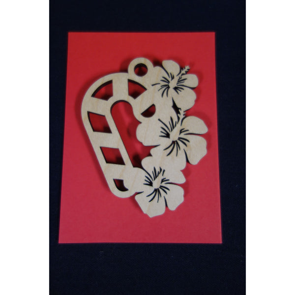 Christmas Candy Cane Hibiscus Ornament